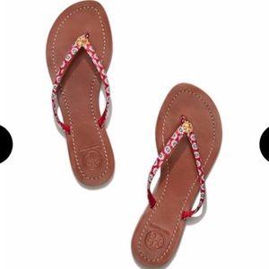 Tory Burch Red Terra Thong Primrose Sandals